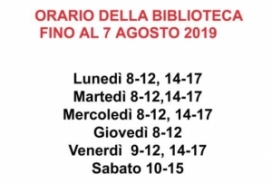2019/08/07 ORARI BIBLIOTECA FINO AL 7 AGOSTO